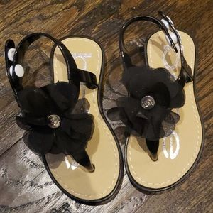 Bebe Black Flower Sandals